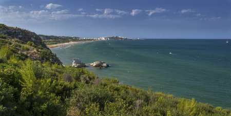 Wide and colorful view of Vieste - Gargano. A beautiful place to visit. Stock Photo