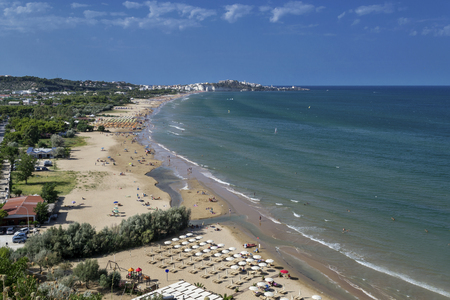 Wide view of Vieste beach Stock Photo