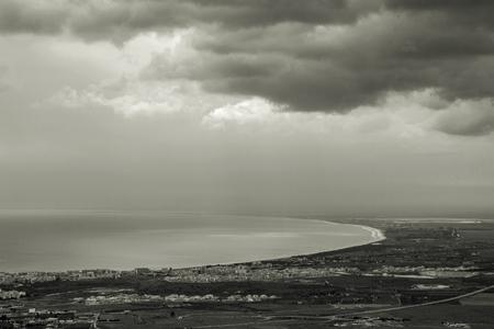 foggia: Manfredonia gulf view in black and white. Stock Photo