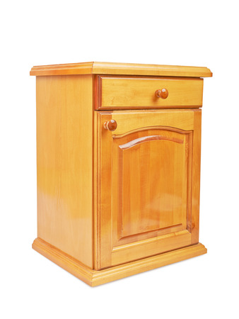 regiment: Wooden bedside nightstand isolated on a white background