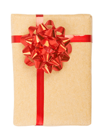 shape cub: Gift box with ribbon bow and tag. Isolated on white