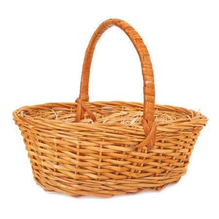 Empty wicker basket. Isolated on white photo