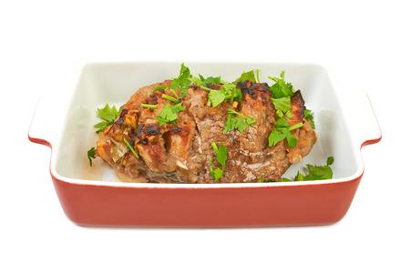 仔牛豚肉の大部分は、セラミックを焼くとレンジで調理 写真素材