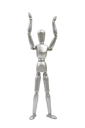 Silver mannequin human model with hands raised on white background photo