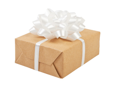 shape cub: Gift box with ribbon bow and. Isolated on white Stock Photo