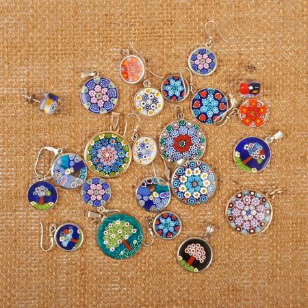 Murano: Murano glass jewelry pendants and earrings Venice on canvas