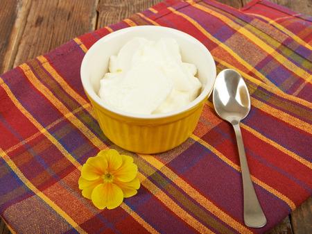 Yogurt, breakfast on the table wooden  photo