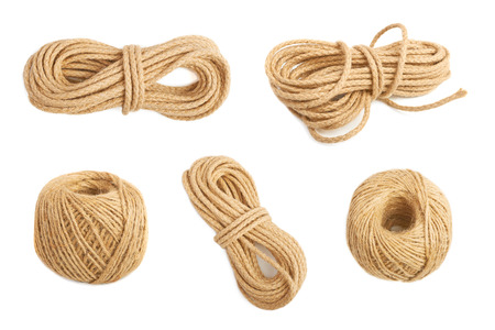 frazzled: Thin natural rope isolated on white background Stock Photo