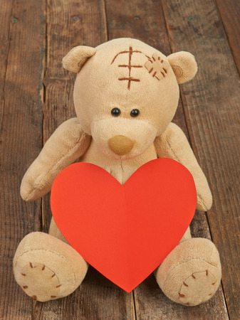 valentine s day teddy bear: Valentine teddy bear and heart Stock Photo