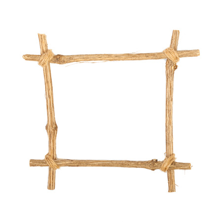 tableau: The frame for the picture made from rough pine logs, isolated on white background Stock Photo