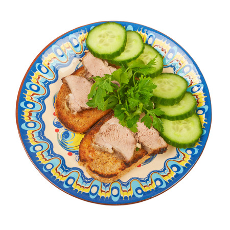 rin: Homemade sandwiches with fried meat on toast with parsley and cucumber
