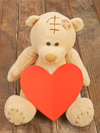 valentine s day teddy bear: Valentine teddy bear and heart Stock Photo