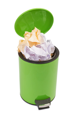 litterbin: Waste can full up with crumpled paper. Isolated on white background