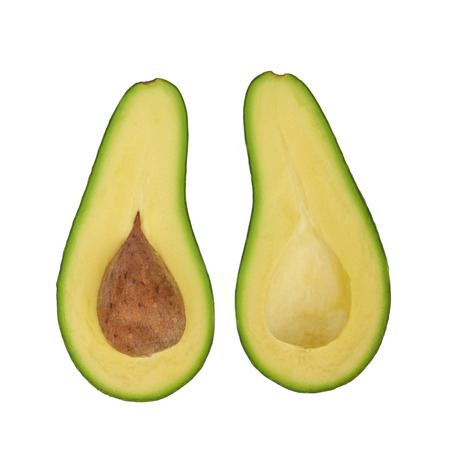 Green Avocado fruit isolated on white background photo