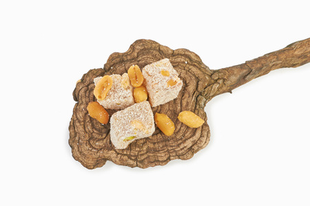 copra: Turkish delight on a white background. Sweet food Stock Photo