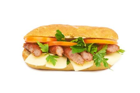 produits alimentaires: Sandwich isolé sur fond blanc