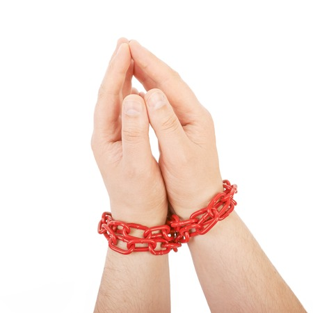 constraints: Hands in chain isolated on a white background
