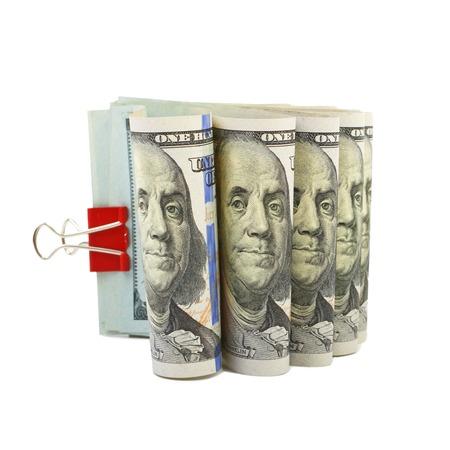 stapled: Hundred dollar bills stapled red clothespin Stock Photo