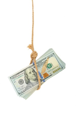 mislead: Hundred dollar bill in gallows noose isolated on white background Stock Photo