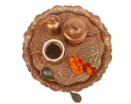 breackfast: A cup of Turkish coffee isolated on white background