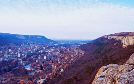 topsail: City view with mountains in Provadia in Bulgaria