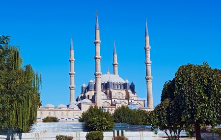selimiye mosque: View of the Selimiye Mosque, the masterpiece of famous architect Mimar Sinan and one of the highest achievements of Islamic architecture. Stock Photo