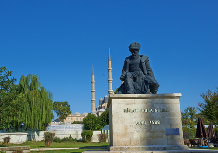 Statue of Master Ottoman Architect Sinan and his finest mosque Selimiye on the background in Edirne Turkey