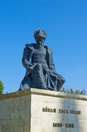 edirne: Statue of Master Ottoman Architect Sinan and his finest mosque Selimiye on the background in Edirne Turkey