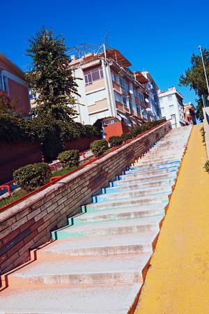 edirne: Street Edirne rise with colored steps, summer