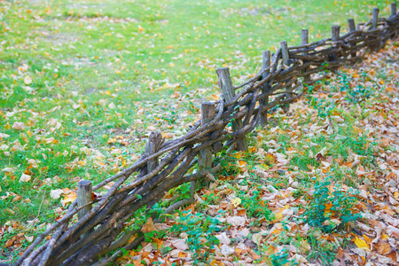 Traditional lath fence around in lawn
