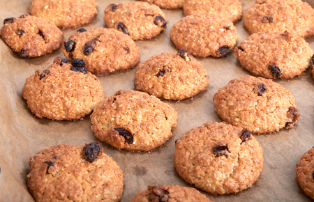 thoroughly: Homemade cookies on baking sheet close up,food Stock Photo