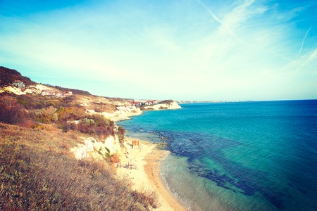 sunny beach: Seafront city of Balchik in Bulgaria, nature landscape Stock Photo