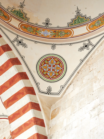 Mosque Samii 1437 - 1447 in the city of Edirne in Turkey. Traditional Turkish painting on the dome of the mosque