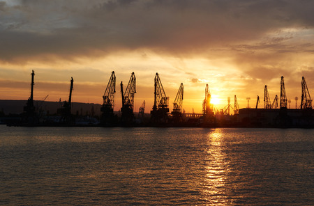 The Eastern part of the Port of Varna at Sunset in Bulgaria