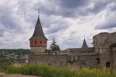 Old Kamenetz-Podolsk fortress near Kamianets-Podilskyi town. Ancient beautiful view of medieval castle in Kamenetz-Podolsky, Khmelnitsky region
