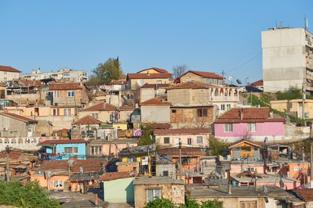 Gypsy slum in Varna, Bulgaria, town city urban settlement, poverty, garbage or junkyard, houses and shacks made of wood or metal