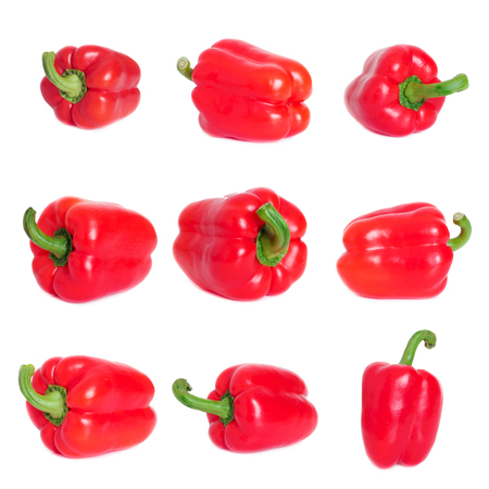 Bell pepper Isolated on white background. Collection Set. Pepper Clipping Path Stockfoto