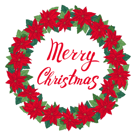 Christmas wreath with poinsettia, leaves and lettering Merry Christmas. Round frame for winter design. Vector background. Vettoriali