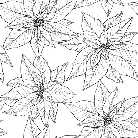 Seamless pattern with beautiful hand drawn poinsettias in lineart stile. Endless texture for Christmas and New Year decoration. Vettoriali