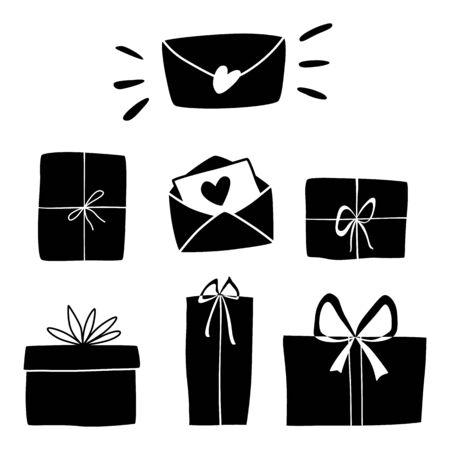 Gift box and love letters silhouette set. Collection for christmas, valentines day, birthday. Hand drawing signs of presents isolated on white, vector illustration. Giftboxes for design greeting card.