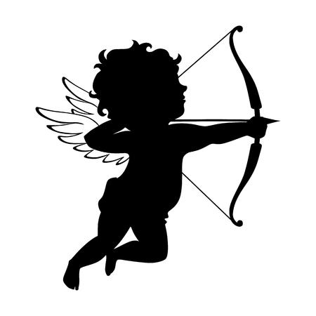 Cupid black silhouette. Valentines day symbol. Vector cupid shooting arrow. Vintage cupid illustration on white background.