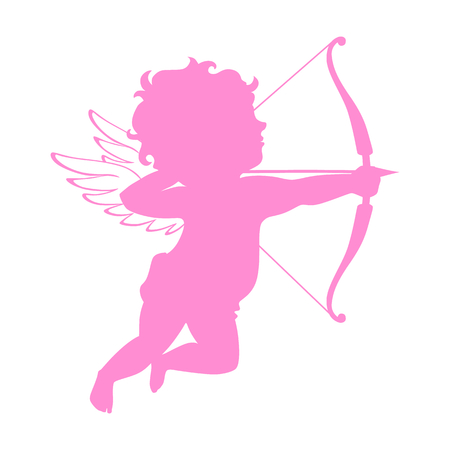 Cupid pink silhouette. Valentines day symbol. Vector cupid shooting arrow. Vintage cupid illustration on white background.