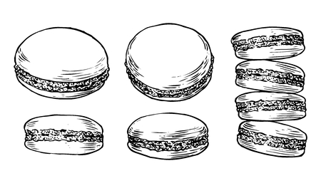Delicious hand drawn french macarons. Engraving style pen pencil painting retro vintage vector lineart illustration on white background. Sweet cookies. Illusztráció