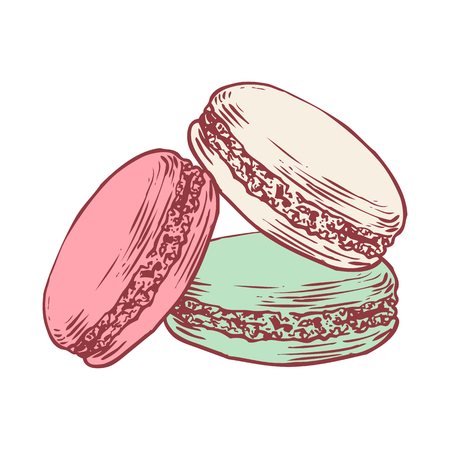 Deliziosi macarons francesi disegnati a mano. Incisione stile penna matita pittura retrò vintage vettore lineart illustrazione colorata su sfondo bianco. Biscotti dolci.