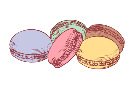 Delicious hand drawn french macarons. Engraving style pen pencil painting retro vintage vector lineart colored illustration on white background. Sweet cookies. Illustration