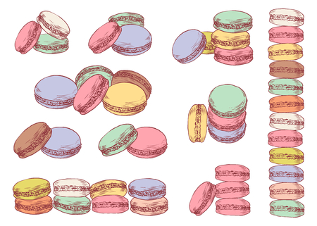 Set of delicious hand drawn french macarons in different compositions. Engraving style pen pencil painting retro vintage vector lineart colored illustration on white background. Sweet cookies.