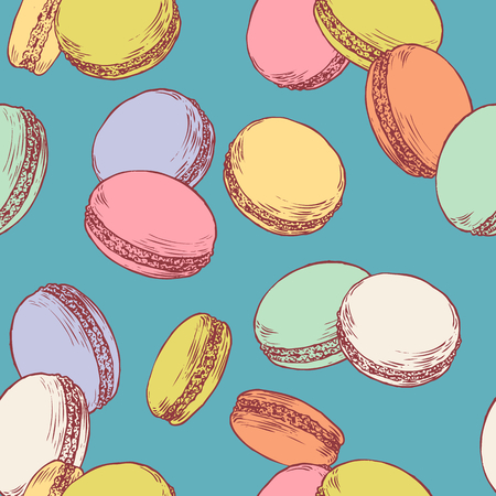 Seamless pattern with french macaroons. Hand drawn vector illustration in vintage engraving style on bright background. Sweet colorful dessert.