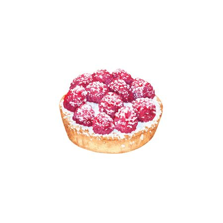 Delicious hand drawn tart with raspberries. Watercolor realistic illustration on white background. Sweet dessert.