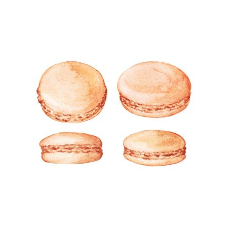 Set of delicious hand drawn french macarons in different positions. Watercolor realistic illustration on white background. Sweet cookies. Фото со стока