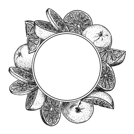 Circle design template with orange fruit in engraving stile. Sweet and fresh fruit element for menu, greeting cards, wrapping paper, cosmetics packaging, labels, tags, posters etc